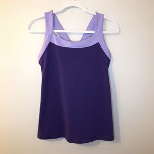 Lucy purple cross cross back sports tank